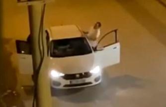 Cep Telefonu Kamerasına Yansıdı: Araçta Tartıştığı Kadına Tekme Atarak Darp Etti