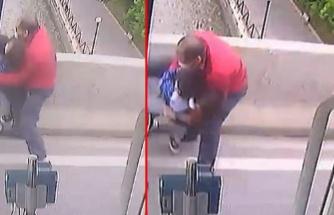 Çocuğuyla intihara kalkışan kadını, otobüs şoförü kurtardı! Anbean kamerada
