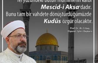 Diyanet İşleri Başkanı Erbaş, Mescid-i Aksa ile Kubbet'üs-Sahra'yı Karıştırdı