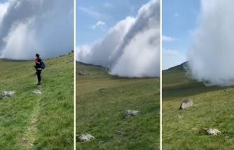 Doğa Yürüyüşüne Çıkan Gezginin Kamerasından Bir Dağın Tepesindeki Bulutun Müthiş Görüntüsü