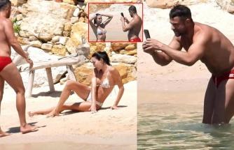 Ece Sükan'ın kırmızı mayolu arkadaşıyla plaj buluşması