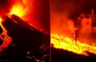 La Palma Adası'ndaki volkandan çıkan lavlar son 24 saatte 90 evi daha yakıp geçti