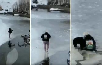 Ördekleri Beslemek İsterken Buzulun Azizliğine Uğrayan Kadın
