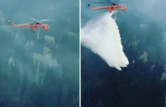 Orman Yangınına Nokta Atışı Müdahale Eden Helikopter Pilotunun Muhteşem Anları