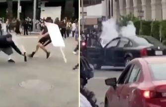 Protestocuların Arasına Havai Fişek Atmak İsteyen Adamı Dumura Uğrattılar!