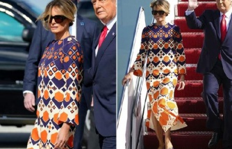 Trump çifti Florida'ya indi: Melania Trump'ın elbisesi dikkat çekti