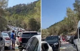 Turist Akınıyla Nüfus Patlaması Yaşayan Bodrum'da Cennet Koyu Yolunda Kilometrelerce Kuyruk Oluştu