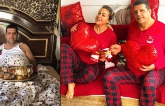 Yeliz Yeşilmen'den kırmızı pijamalı aşk pozu