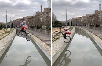 Yer Çekimine Meydan Okuyan Bisikletlinin İzlerken Hayran Kalacağınız Efsane Görüntüleri!