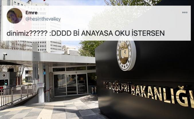 Dışişleri Bakanlığı'nın Açıklaması Sosyal Medyanın Gündeminde: 'Dinimiz?'