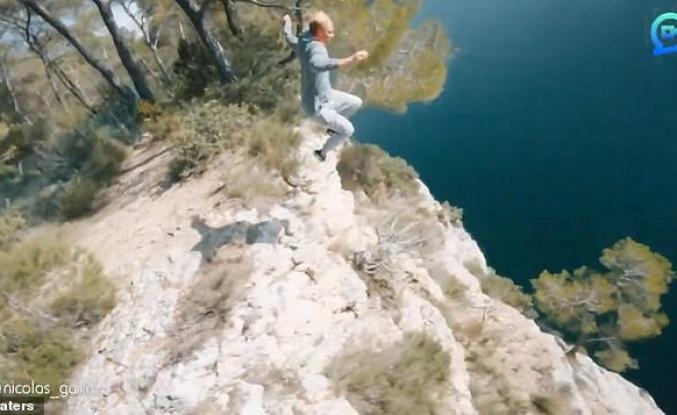 Metrelerce Yükseklikten Dağ Gölüne Atlayan Adamın Muhteşem Drone Görüntüleri!